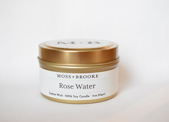 ROSE WATER 4OZ MOSS + BROOKE SOY CANDLE