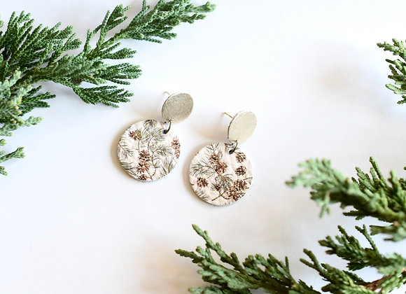 SMALL PINE CONE DANGLE EARRINGS