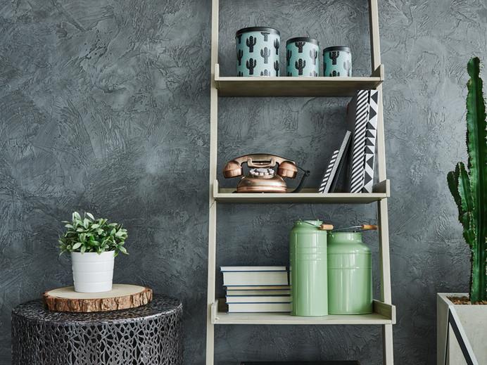 Grey Wall and Bookshelf