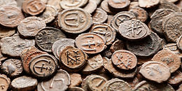 Pile of ancient Byzantine copper coins w