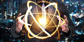 Quantum computer technology concept. Man