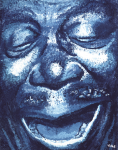 Finger painting portrait of B.B. King by Thea Kay Leopoulos
