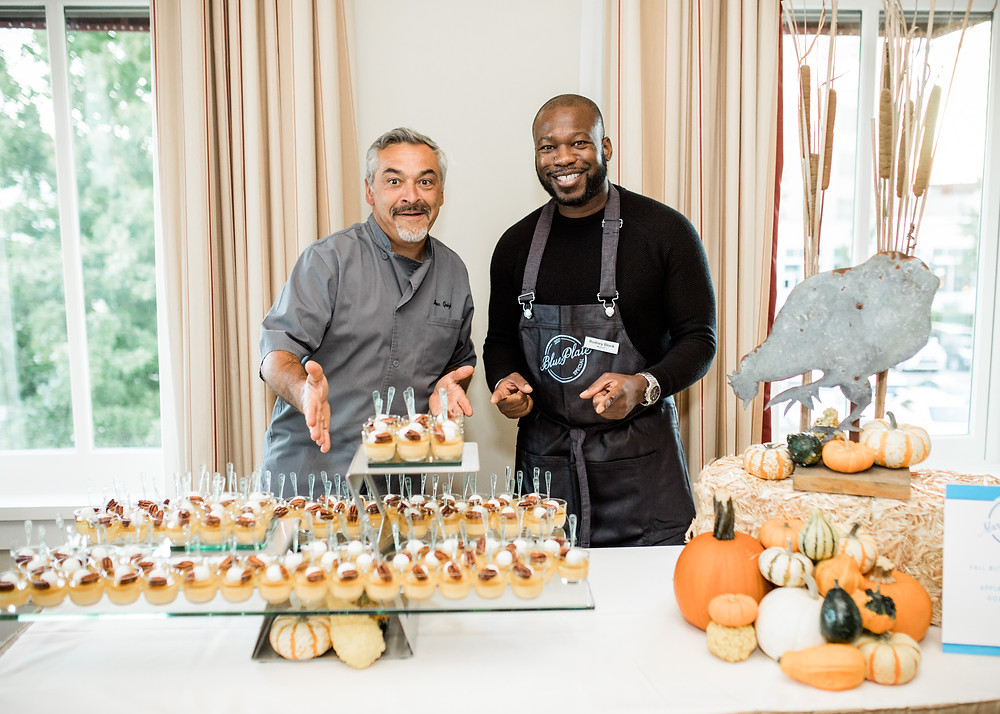 Capital Hotel chef Marc Guizol and Musician Rodney Block serve dessert at Thea Foundation's Blue Plate Special 2017