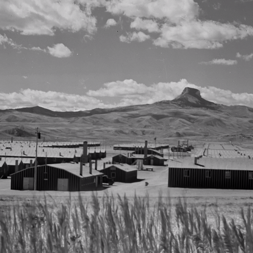 Looking west over the Heart Mountain Relocation Center in Heart Mountain, Wyoming.