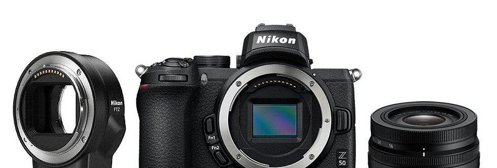 Nikon Z50 + 16-50mm VR Lens + FTZ Adaptör