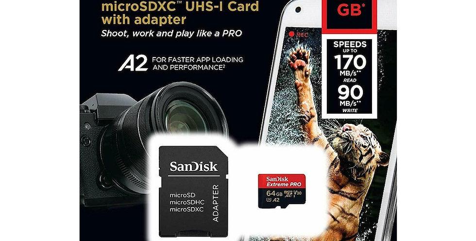 Sandisk Extreme Pro 64 GB MicroSDXC Hafıza Kartı + Adaptör