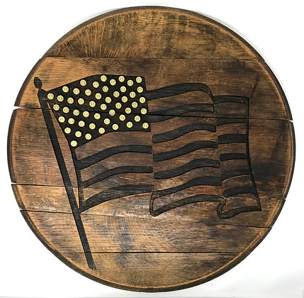 Whiskey Barrel Head, Bullet Flag