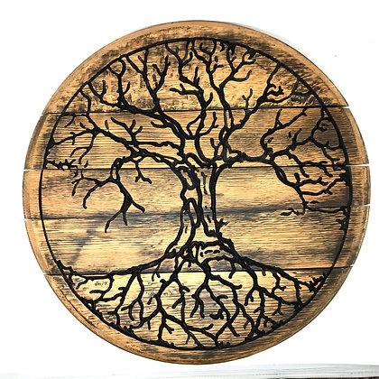 Whiskey Barrel Head, Tree Of Life