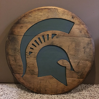 Whiskey Barrel Head, Sparty license #8317