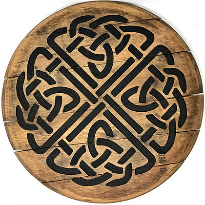 Whiskey Barrel Head, Celtic Knot