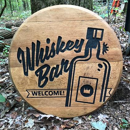 Whiskey Bar Barrel Head