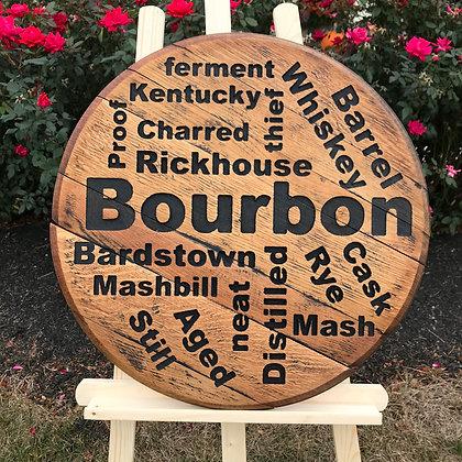Bourbon Word Cloud Barrel Head