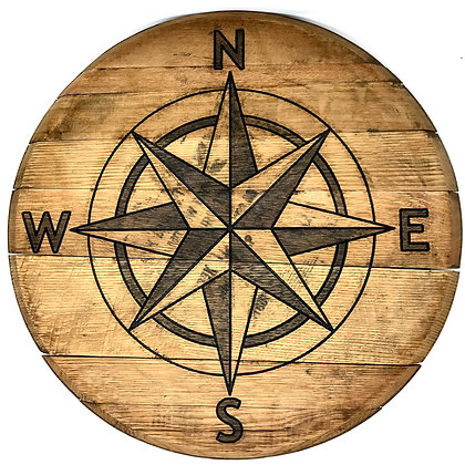 Whiskey Barrel Head, Compass Rose