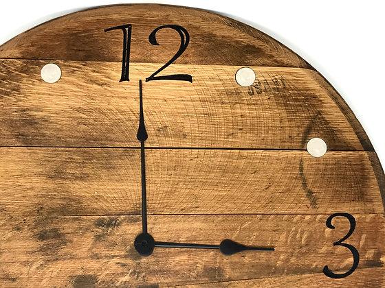 Whiskey Barrel Head, Clock -Buffalo Nickels
