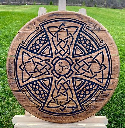 Whiskey Barrel Head, Celtic Cross