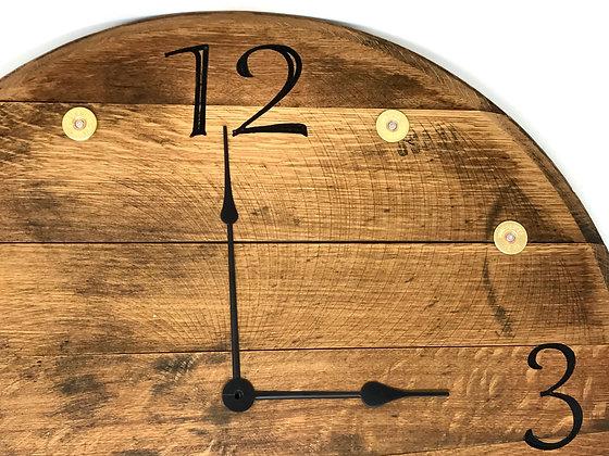 Whiskey Barrel Head, Clock -Shotgun