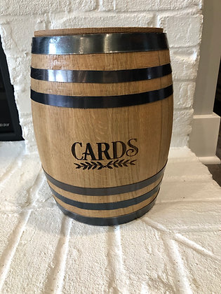 Whiskey barrel wedding card holder