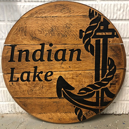Whiskey barrel head, Indian Lakes