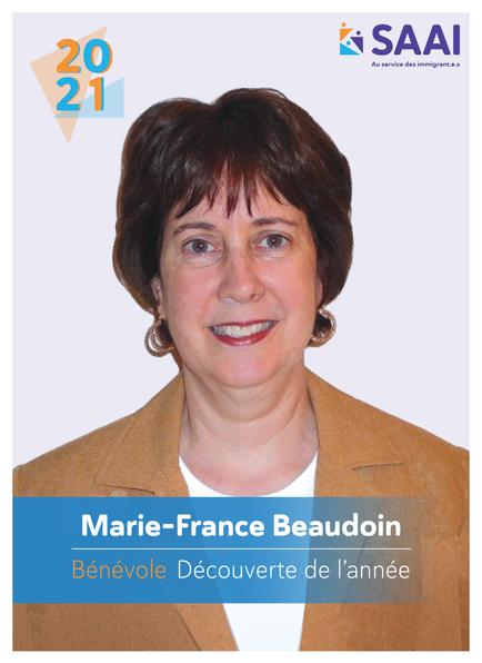 Marie-France  Beaudoin, bénévole Découverte de l'année