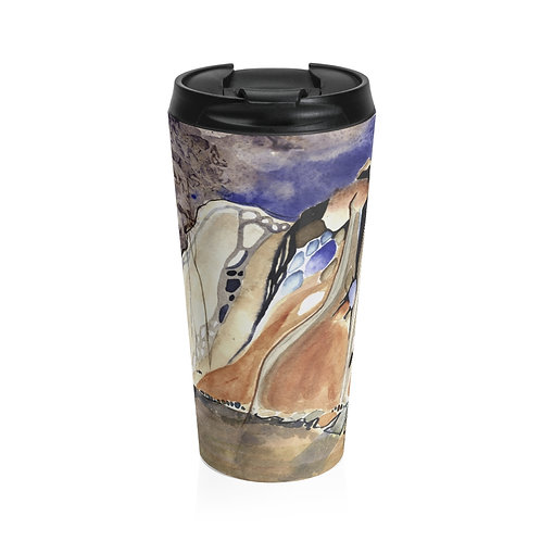 """Morchella Mountains"" Stainless Steel Travel Mug"