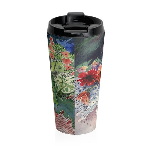 """Bouquet"" Stainless Steel Travel Mug"