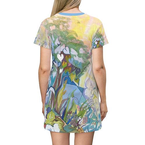 """Cat Among the Flowers"" T-Shirt Dress"