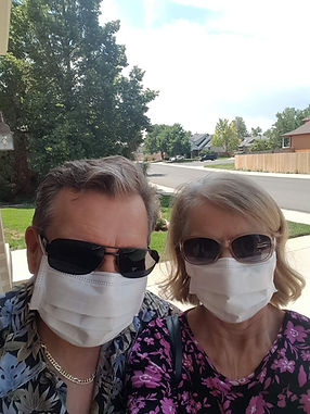 Rick and Cindy J. of Thornton, CO wearing Loush USA face masks.  They comment Wonderful quality, the mask fits securely on the face and chin; it stays in place even while talking!    The soft texture and breathability makes it comfortable to wear even in this warm summer weather.    We prefer this mask over our cloth ones. Great, it's made in USA too..JPG