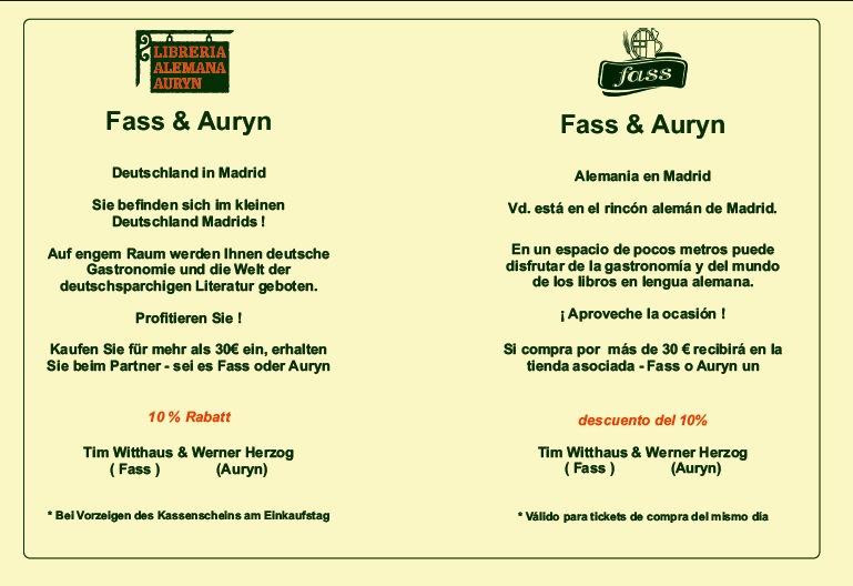 Descuentos en libros en alemán en Madrid - acción Librería Alemana Auryn y la tienda Fass, 10% de descuento, 10% Rabatt