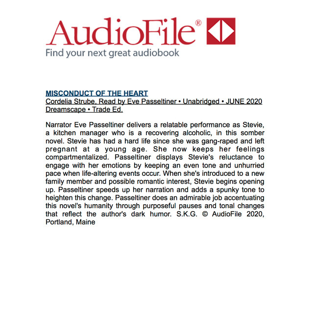 AudioFile Magazine review of Misconduct of the Heart