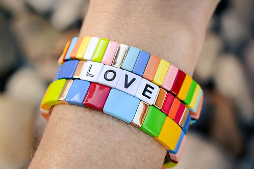 Blue love tile bracelets