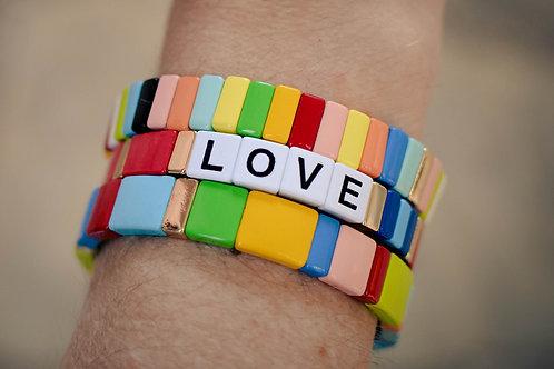 Red Love tile bracelet