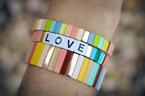 Warm colored love tile bracelets