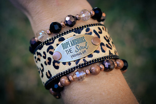 Tan Leopard Hope cuff set