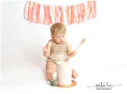 1 year old cake smash with wooden spoon