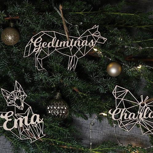 PONAS BEBRAS geometrinių gyvūnų formų kalėdiniai žaisliukai su vardu
