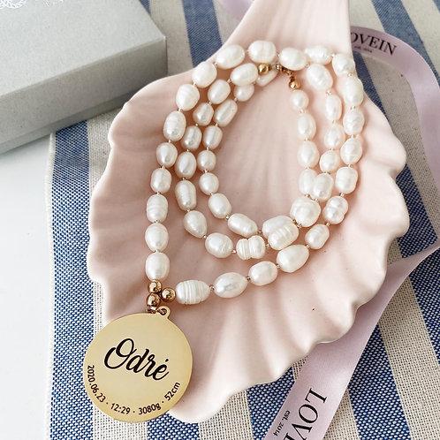 LOVEIN midi ilgio perlų vėrinys su individualiu graviravimu