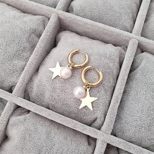 MNK handmade jewelry auskarai su gėlavandeniais perlais