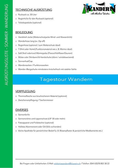 Packliste für Wanderung Sommer Frühling Herbst Tagestour mit ErlebnisWandern