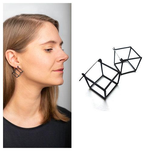"""MIELA geometriniai minimalistiniai auskarai  """"Juodi kubai"""""""