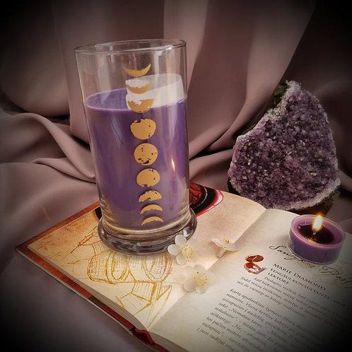 ŽVAIGŽDŽIŲ LIETUS sojų vaško žvakė su selenito kristalu MĖNULIO ŽVAKĖ