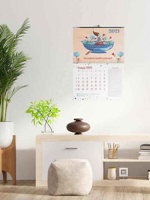 """COZYWOOD medinis sieninis kalendorius """"Laivelis"""""""