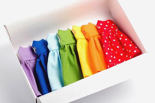 """NICE VIBES lėlės suknelių rinkinys """"Vaivorykštės spalvos"""""""