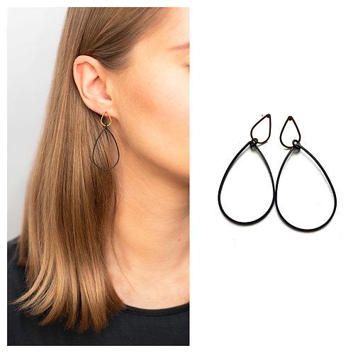 MIELA minimalistiniai auskarai lašai iš juodo metalo