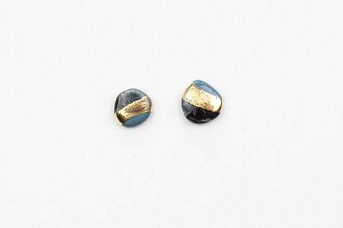 CARAMEL CERAMICS mėlynos ir juodos spalvų auskarai MIDNIGHT