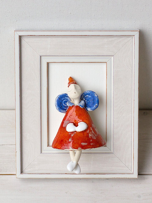 """MOLINUKAI.LT rankų darbo keraminis paveikslas """"Angeliukas mėlynais sparnais"""""""