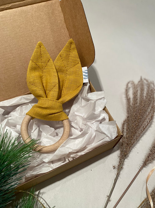 TILILI natūralus rankų darbo kramtukas iš lino bei niekuo neapdirbto medžio