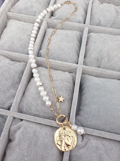MNK handmade jewelry perlų vėrinys su medalionu