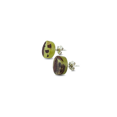 "MALKO jewellery auskarai ""POINT OLIVE GREEN"""