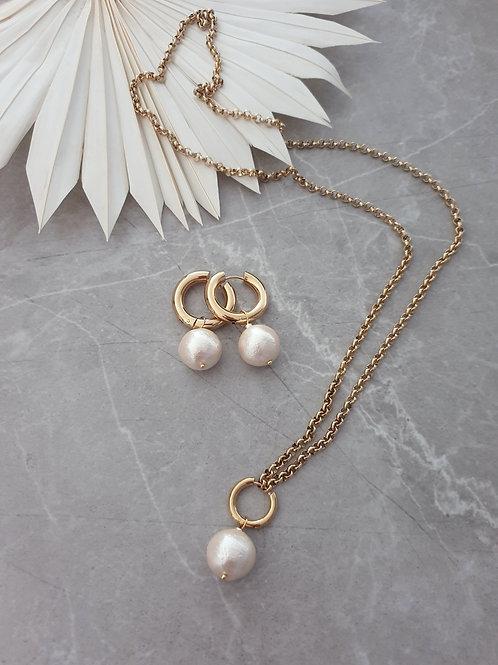 MNK handmade jewelry papuošalų rinkinys su japoniškais medvilnės perlais