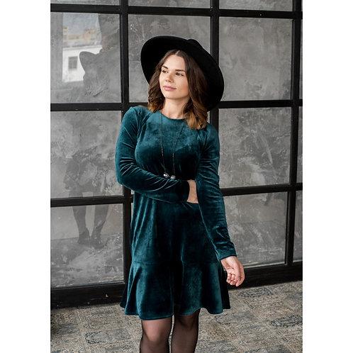 BUBOO®️ moteriška prabangi suknelė ROMA smaragdas aksominė